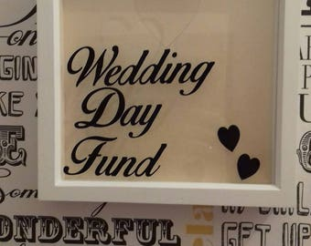 Wedding Day Money Saving Drop Box Frame, Wedding Fund Vinyl Box Frame, Saving For Wedding Day Frame, Wedding Items, Engagement Gift