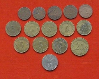 20% Off Sale Set of 15 Latvian Coins. All coins from 1992