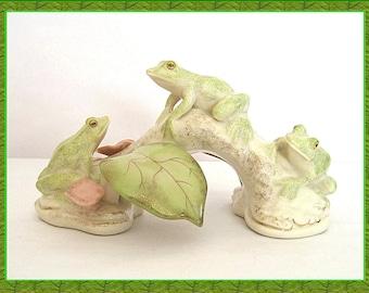 Vintage Lenox Figurine Lazy Day Frogs Ivory China