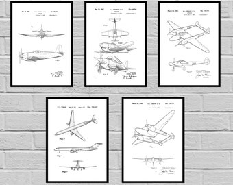 Airplane Patent SET of 5, Aircraft Poster, Airplane Art, Aviation Decor, Airplane Wall Art, Airplane Blueprint, Aviation gifts,Pilot, sp422
