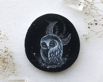 Galaxy Dust Owl Black + White Version | Original painting on wood | MADE TO ORDER