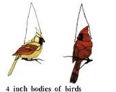 4 inch ornaments of Cardinal birds