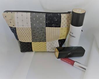 Patchwork Zipper Bag Toilet Bag, Cosmetic Bag, Moda Lakeside Gatherings Fabric