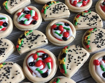 2 Dozen Mini Tacos and Pizza Decorated Cookies Set
