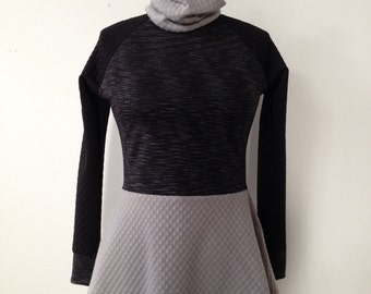 Color Block Skirted Cowl Top