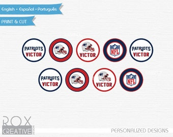 Patriots Cupcake Toppers, Patriots Favor Tags, Napkin Rings, Digital Design