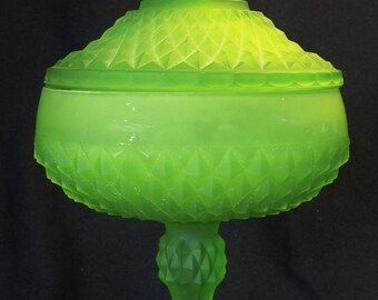 Indiana Glass Lime Green Frosted Diamond Point Compote