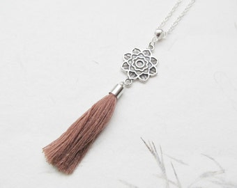 Mandala necklace, yoga necklace, tassel jewelry