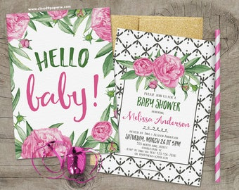 PRINTED Baby Shower Invitation, Floral Baby Shower, Feminine Baby Shower Invitation, Baby Shower Invite, Floral Baby Shower Invite, BS005
