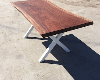 "Black Walnut ""X"" Base Dining Table"