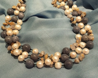 Natural blue coral, freshwater pearl and skin blue Chalcedony three strand designer necklace