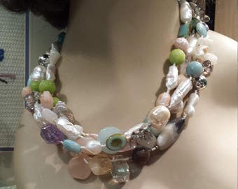 Pearl, Aquamarine, moonstone and jade four strand necklace