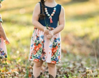 Pink Floral Navy Blue Dress -  Toddler Dress - Baby Dress - Girls Dress - Toddler Outfit - Baby Outfit - Baby Gift Idea - Toddler Clothes