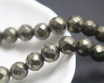 4 mm Iron pyrite faceted round beads, 15 inch full strand