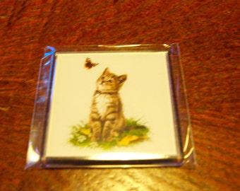 Gray Cat Fridge Magnet