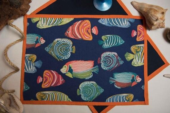Indoor / Outdoor Handmade Tropical Fish Placemat Set