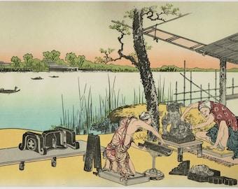 "Japanese Ukiyo-e Woodblock print, Hokusai, ""Ceramic factory at Imado, Asakusa"""
