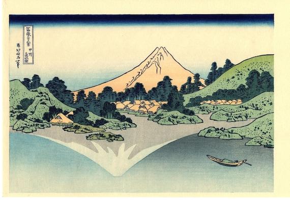 "Japanese Ukiyo-e Woodblock print, Katsushika Hokusai, ""Mount Fuji reflects in Lake Kawaguchi from the series Thirty-six Views of Mount Fuji"""