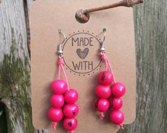 Pink Fuchsia Acai Seed Earrings ~ Eco Friendly Product Beaded Earrings ~ Ecuador Jewelry ~ Boho World Traveler Style Juicy Pink Earrings