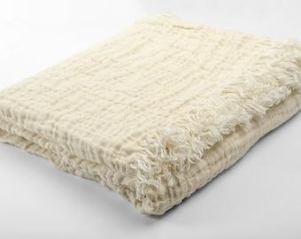 Ivory linen blanket, linen bedspread, throw blanket, custom blankets, sofa throw, bed throws, bed blankets