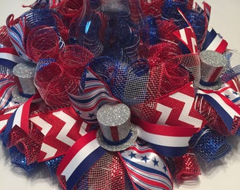 Patriotic, Memorial Day, 4th of July Lg. Striped Mesh Centerpiece