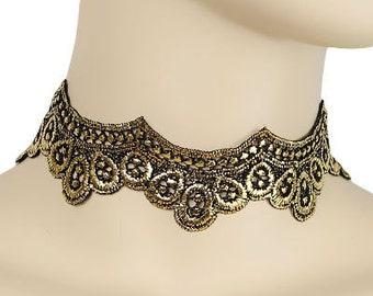 Gold & Black Scallop Lace Choker