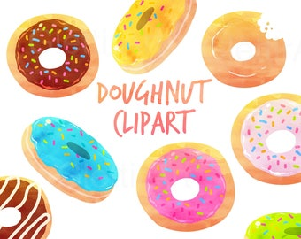 Donut Clipart, Doughnut Clipart, dessert Clipart, Watercolor clipart for personal and commercial use, scrapbooking,  planner stickers