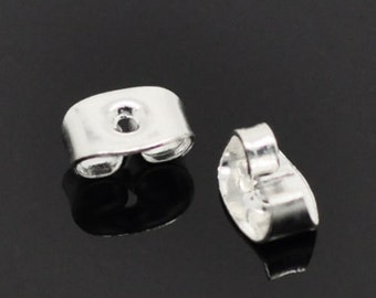 "500 Silver Plated Ear Nut Clutch Earring Post Backs 6x4mm(1/4""x1/8"")"