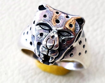panther animal head ring heavy sterling silver 925 man biker ring all sizes handmade jewelry free shipping detailed craftsmanship