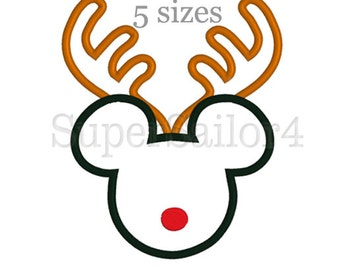 Mouse Reindeer applique design, Reindeer applique design, Reindeer embroidery, Mickey applique design