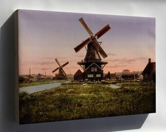Canvas 24x36; Dutch Windmills Netherlands Holland Photochrom C1905