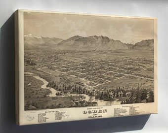 Canvas 24x36; Birdseye View Map Of Ogden City, Utah Territory 1875