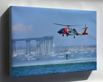 Canvas 24x36; Uscg Coast Guard Sikorsky Mh-60T Jayhawk Mh-60 Helicopter