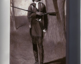 Canvas 16x24; Daniel Boone, Pioneer Scout By Norman Rockwell 1912