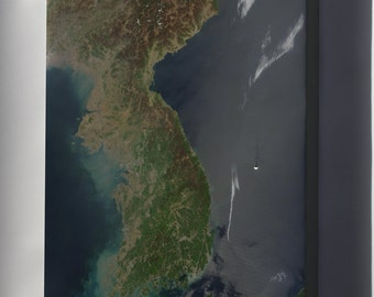 Canvas 16x24; North And South Korea Satellite Image Map