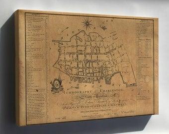Canvas 16x24; Building Map Of Charleston South Carolina 1790