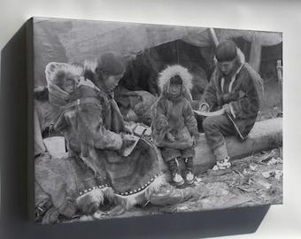 Canvas 16x24; Inuit- Eskimo Family 1917