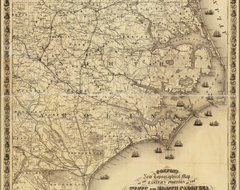 16x24 Poster; Map Of Eastern North Carolina 1863