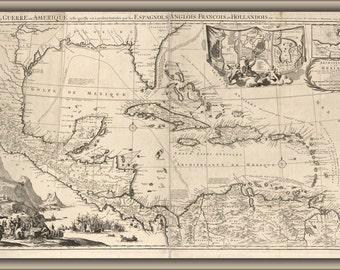 16x24 Poster; Map Of West Indies Caribbean Cuba Florida 1757 P2