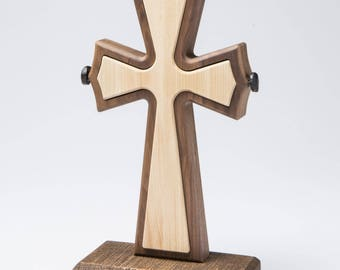 Unity Cross ® Solid Black Walnut and Curly Maple wood