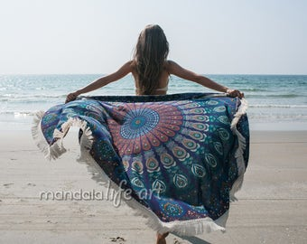 Roundie Tapestry Peacock Mandala Tapestry Bohemian Beach Blanket Mandala Circle Towel Large Beach Sheet Oversized Round Towel