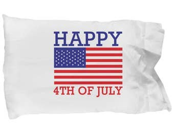 Summertime Flag Pillowcase, American Flag Bedding, Patriotic Bedding, Patriotic Sheets, USA