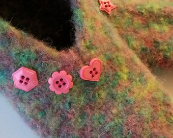 Handknitted Felted Wool Slippers, multi colour green pink buttons