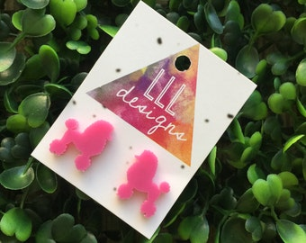 Tiny Poodle Earrings/Studs. Poodle Love. Tiny animal earrings/studs. Laser Cut Poodle studs/earrings