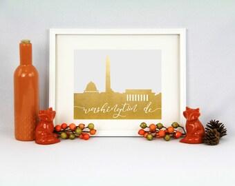 Washington D.C. // City Silhouettes // Foil Prints // Cityscape Foil Prints // DC Foil Prints // District of Columbia