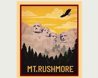 Mount Rushmore Decal - Mt. Rushmore Sticker - Vintage Style Decal - Mount Rushmore Car Decal - Mount Rushmore RV Decal - Laptop Decal S118