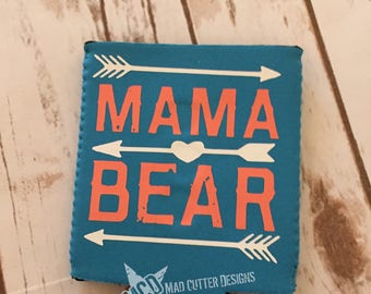 Mama Bear Can Cooler - Mama Bear Drink Holder - Magnetic Can Cooler