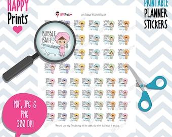 Kawaii Bubble Bath Printable Planner Stickers.