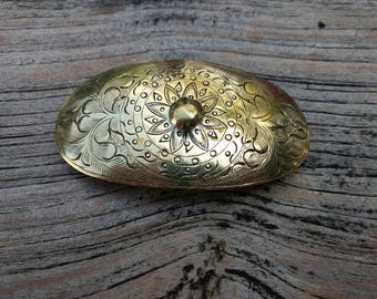 Vintage Hair Clip - Goldtone - Flower - Pattern