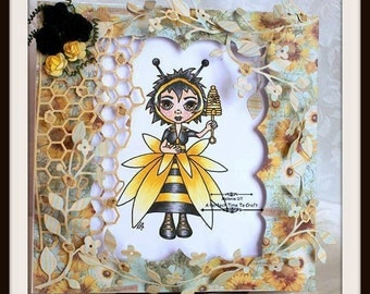 Digital stamp colouring image - Honey bee Charlee . jpeg / png